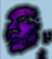 Paul Vedant - self posterisation in blue